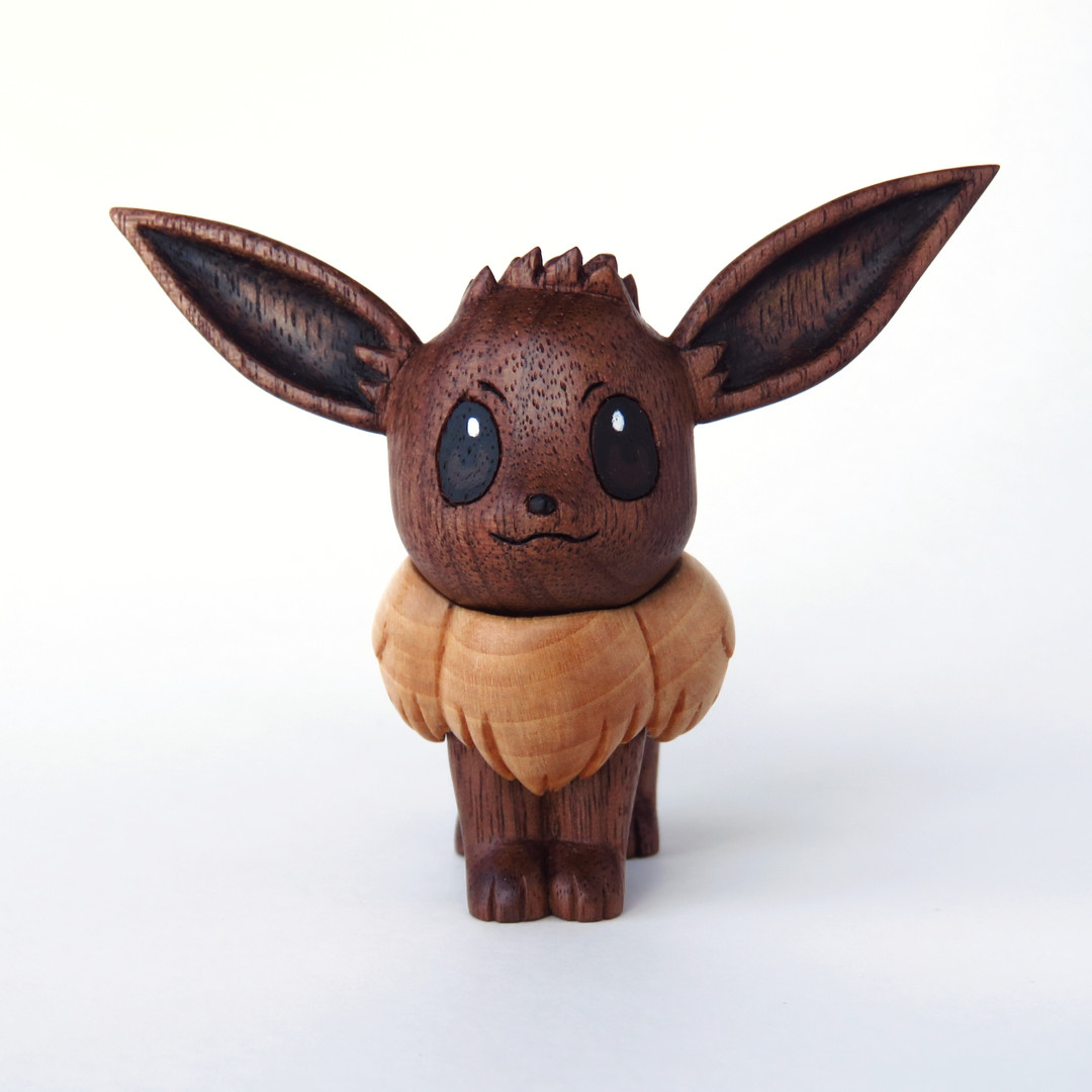 Eevee wood carving wooden pokemon hand carved figure