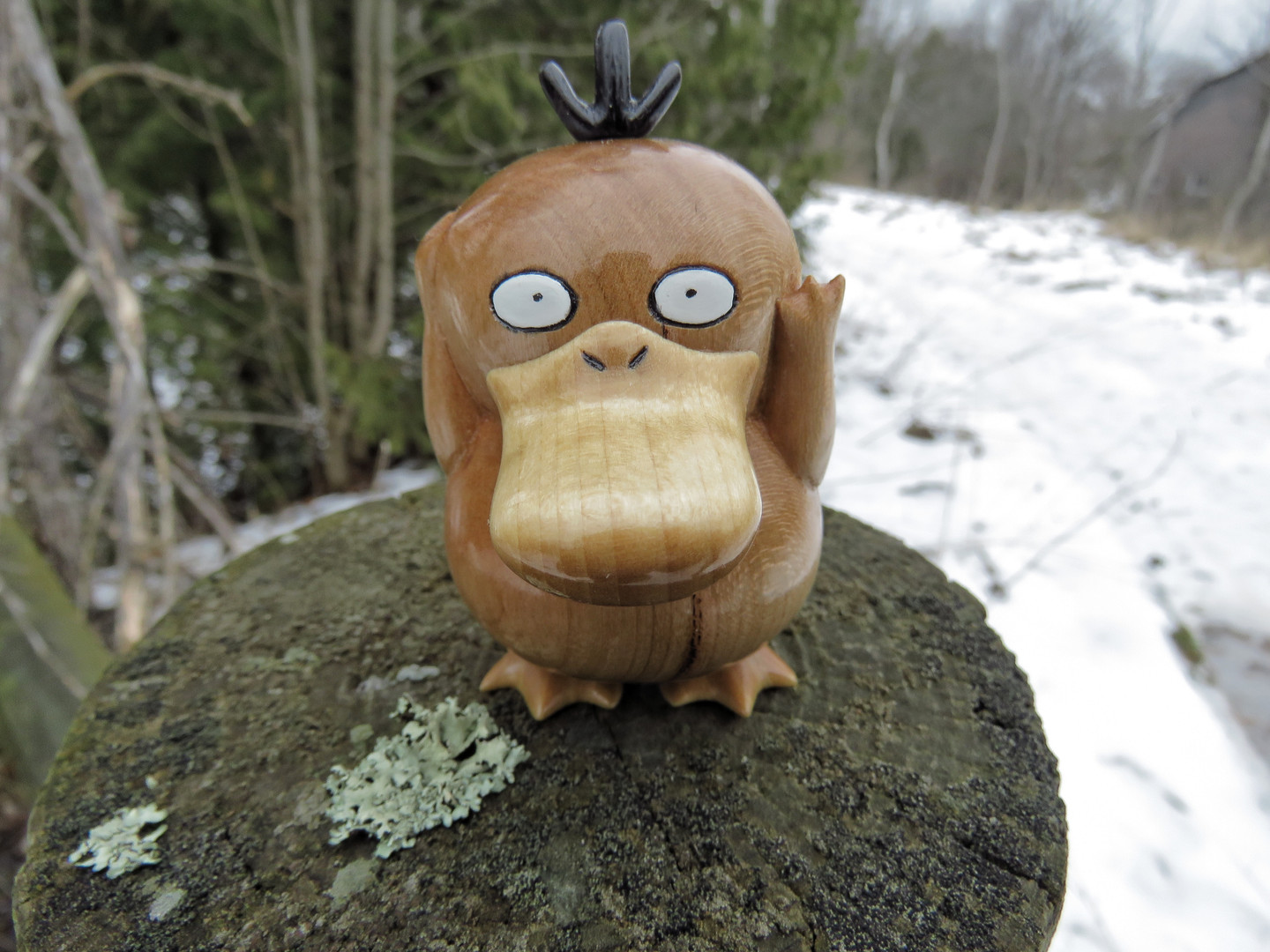 Psyduck wood carving pokemon figure