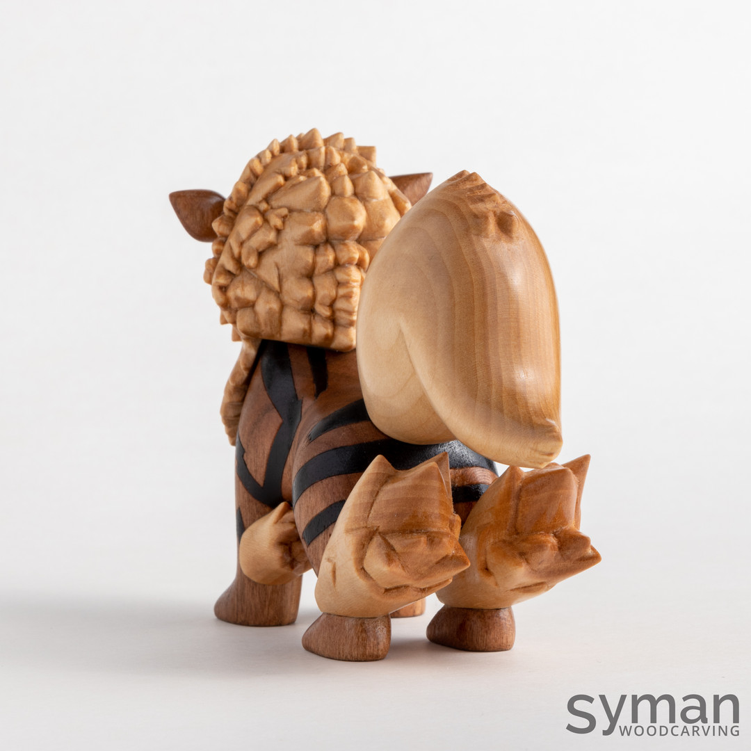 Arcanine wood carving handmade pokemon figure