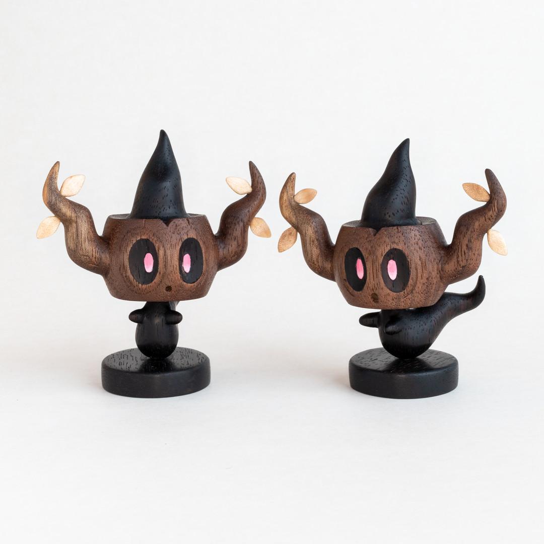 Phantump wood carving pokemon figure hand carved ebony walnut and maple