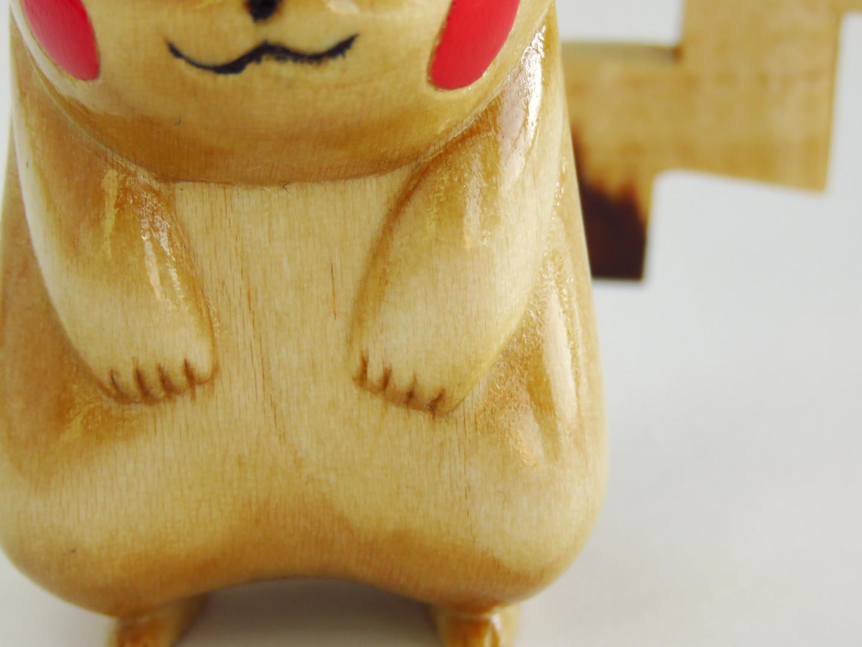 Pikachu Pokemon wood carving details
