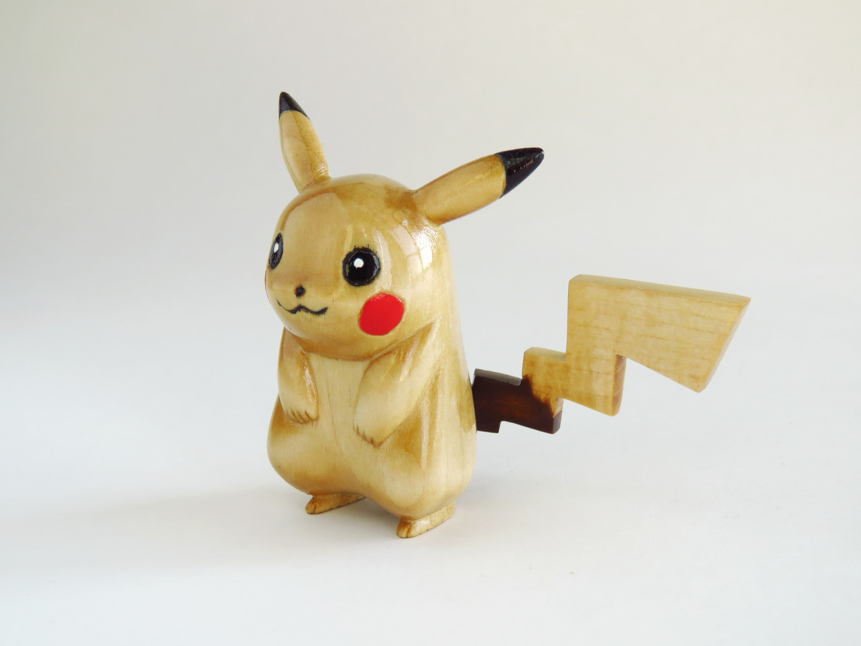 Pikachu wooden pokemon carving figure