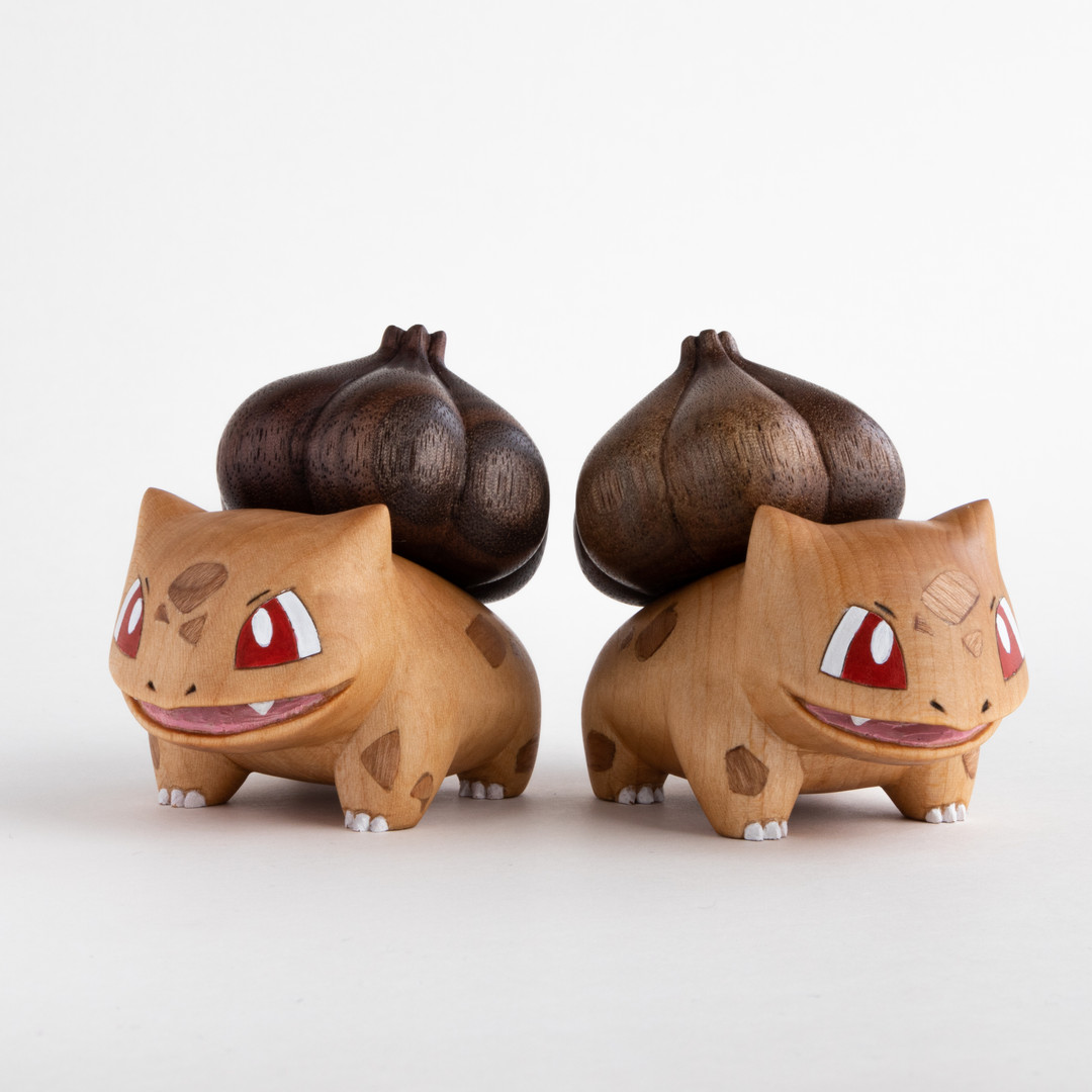 Bulbasaur wood carving pokemon figure wooden carving