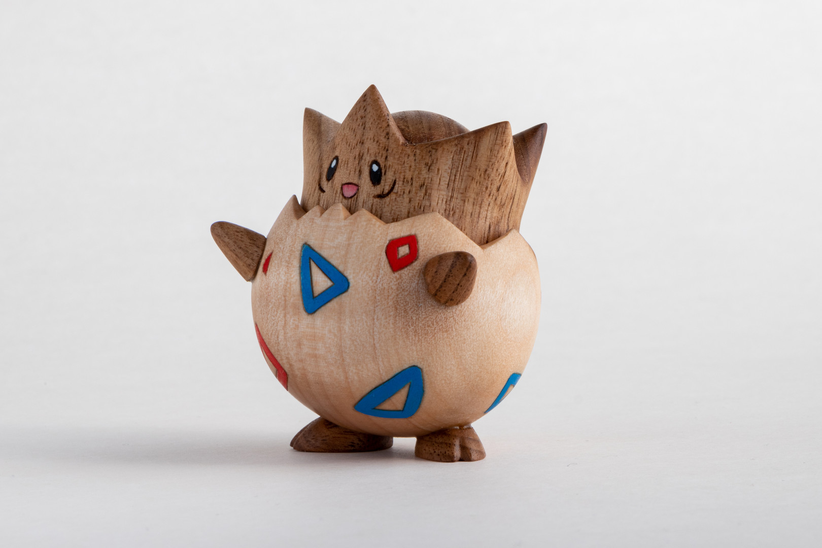 Togepi wood carving handmade butternut and maple pokemon figure