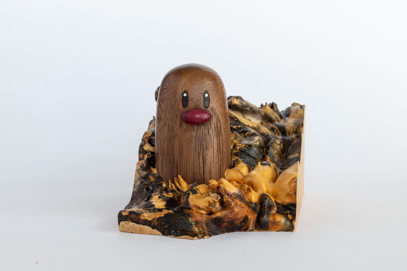 Diglett Woodcarving walnut maple burl purpleheart