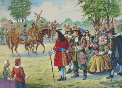 Artist's Conception of the Original (1655) Horse Race in America