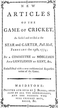 1774 Edition of the Articles of Cricket
