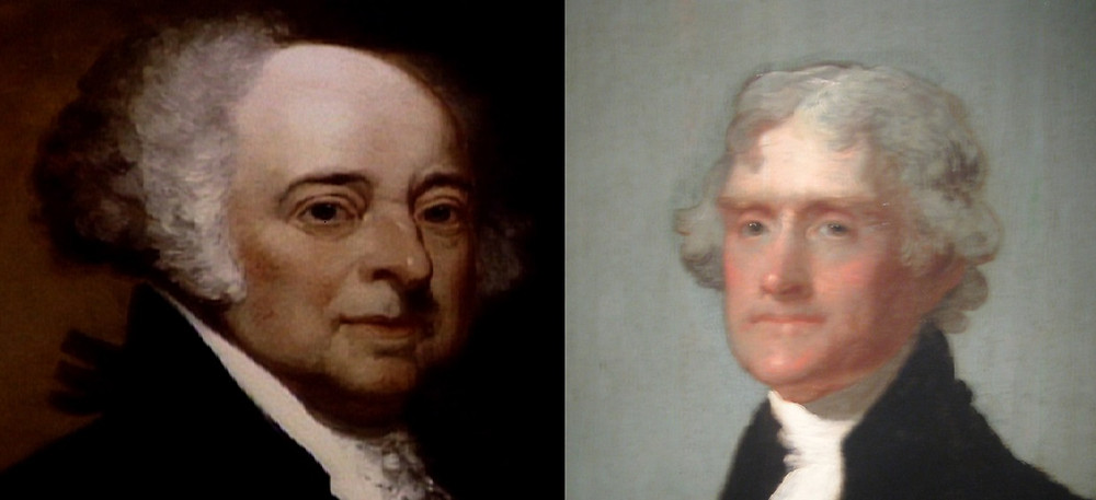Portraits of John Adams and Thomas Jefferson