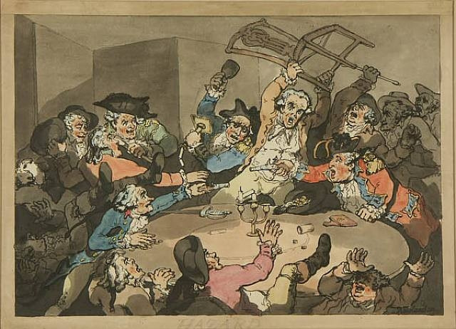 "Caricature of ""gentlemen"" playing hazzard - Georgian era"
