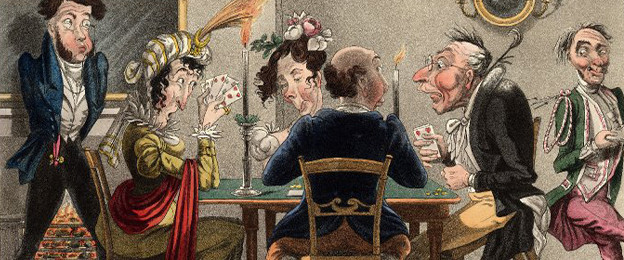 Caricature of two couples playing whist - late Regency era