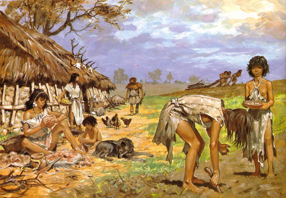 Ancient Farmers Planting Seeds with a Dibble