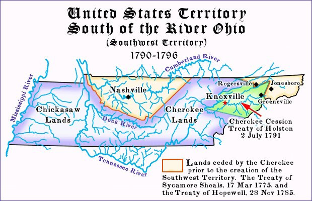 Map of the Territory South of the Ohio (Old Southwest Territory)
