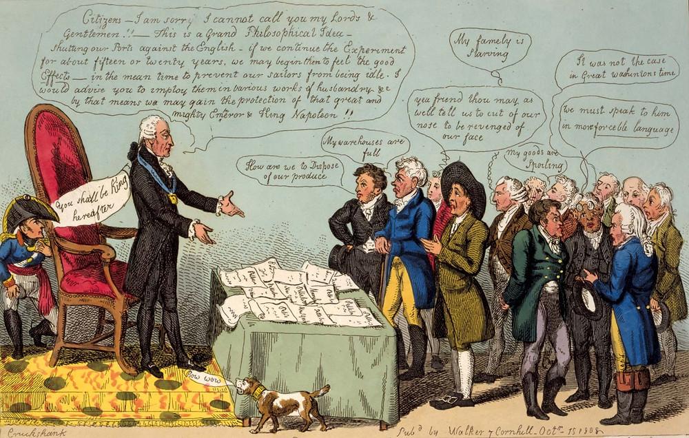 Political Cartoon of Jefferson Defending his Embargo