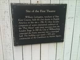 Marker for the First Theatre in Williamsburg, VA