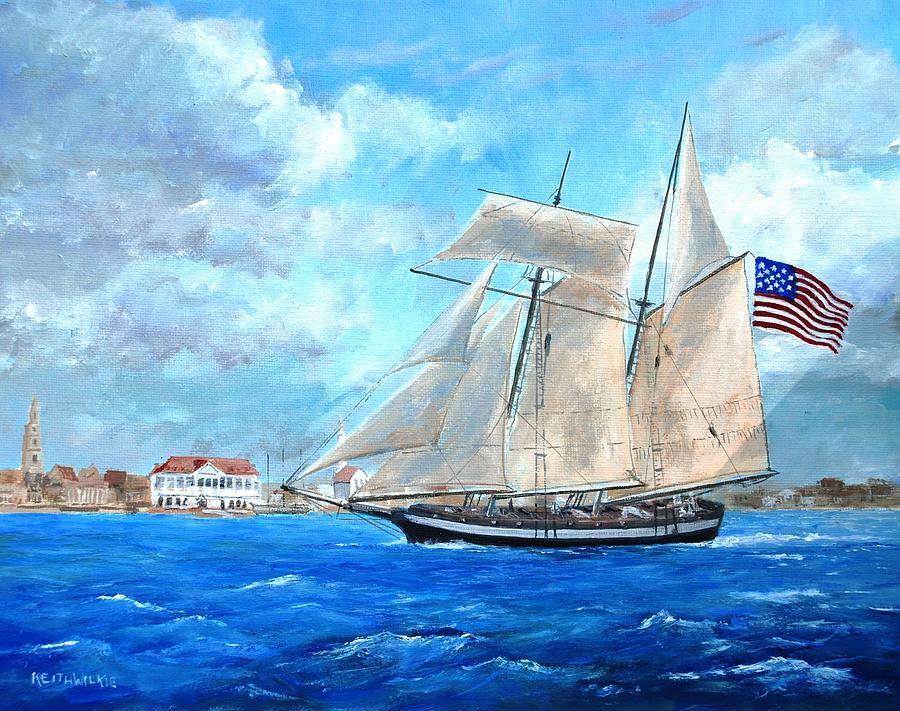 Painting of USS Carolina by Keith Wilkie
