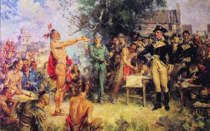 Painting of the Treaty of Greenville Conference