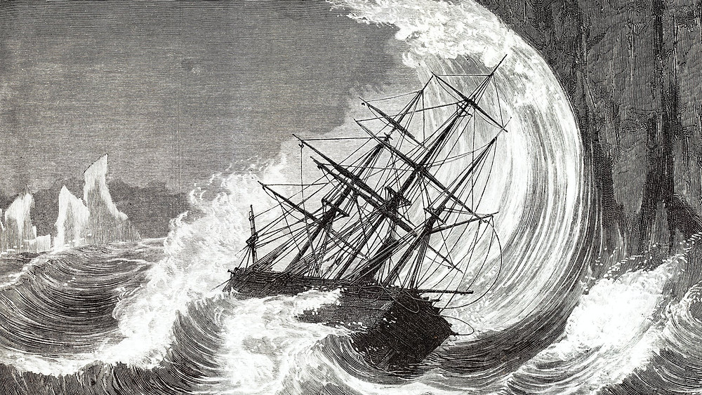 Ship Being Driven Aground in a Hurricane