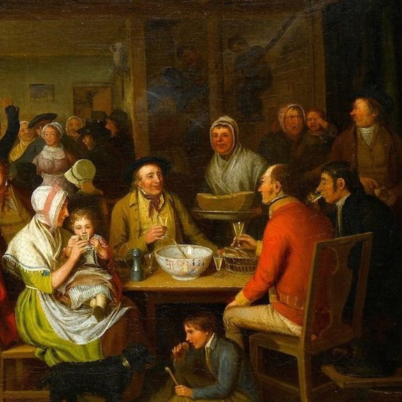 A Mixed Group Sharing a Bowl in a Tavern