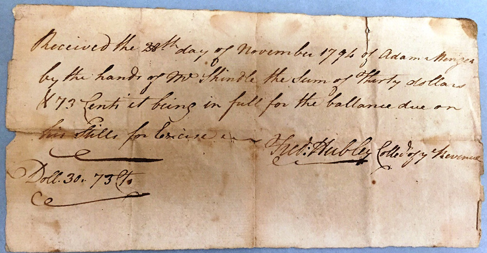 Receipt for Excise Tax Paid on Stills ($30) Nov 1794