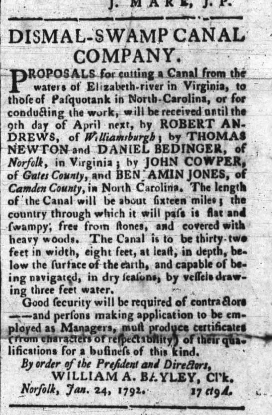 Request For Proposals, Dismal Swamp Canal, 1792