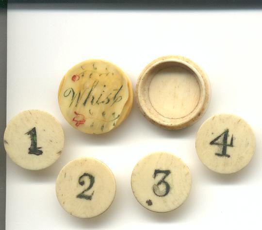 Bone or Ivory Whist Markers used to Keep Score