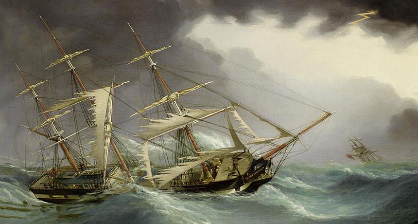Ship at Sea in a Hurricane