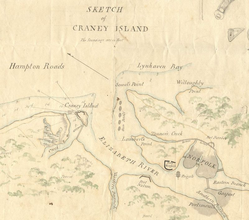Map Showing Constellation Anchorage during Battle of Craney Island