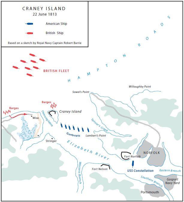 Battle of Craney Island Map