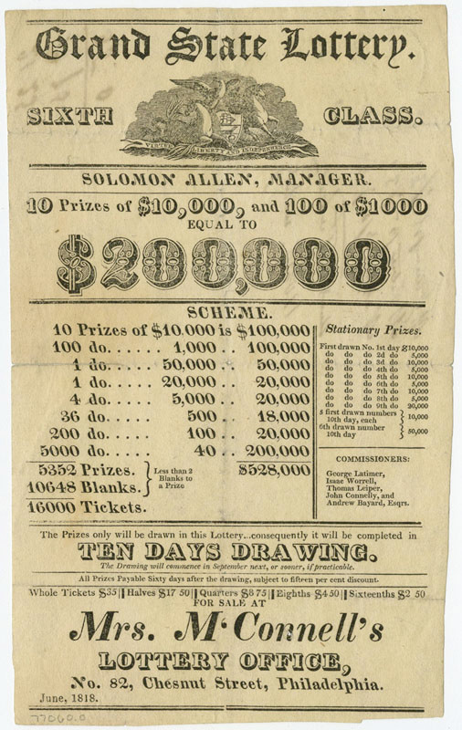 Flyer for 1818 Lottery in Pennsylvania