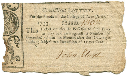 Connecticut Lottery Ticket - 1753