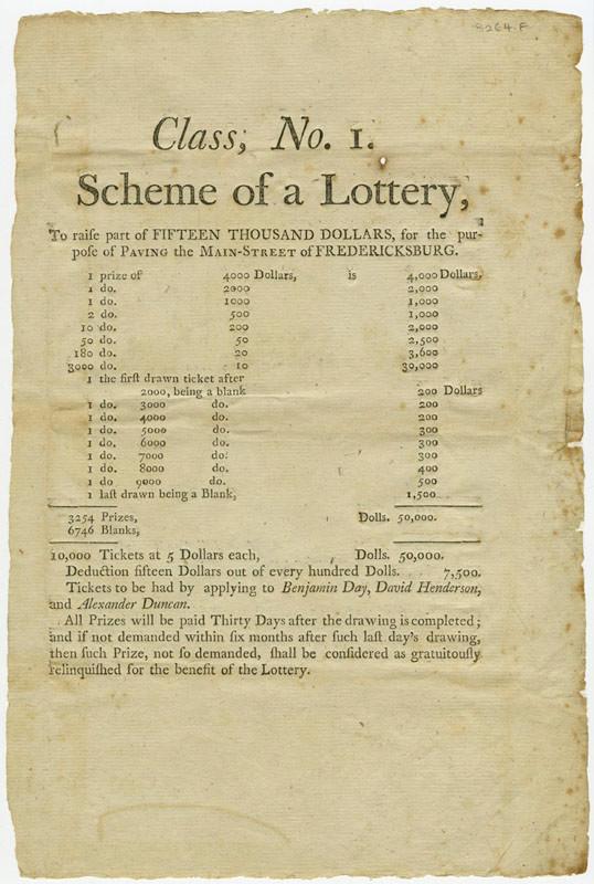 Fredericksburg VA Lottery Flyer - 1804