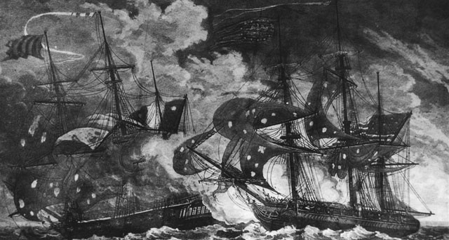 The American Ship Planter Fighting Off a French Privateer