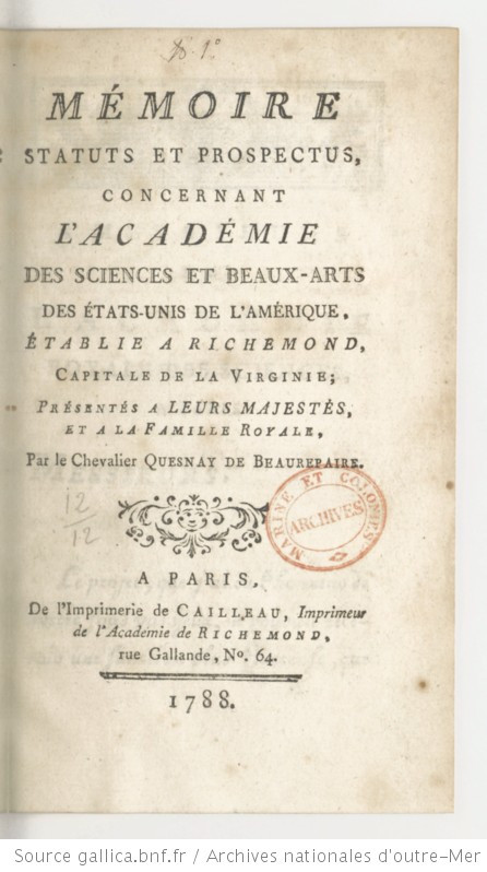 Report on the Academy of Arts and Science in Richmond presented to the King of France