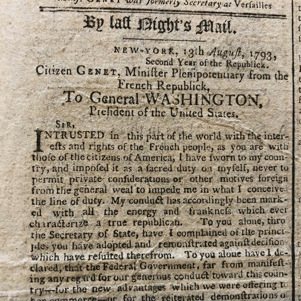 Letter From Genet to President Washington Published in the Newspaper in an Attempt to Influence Public Opinion
