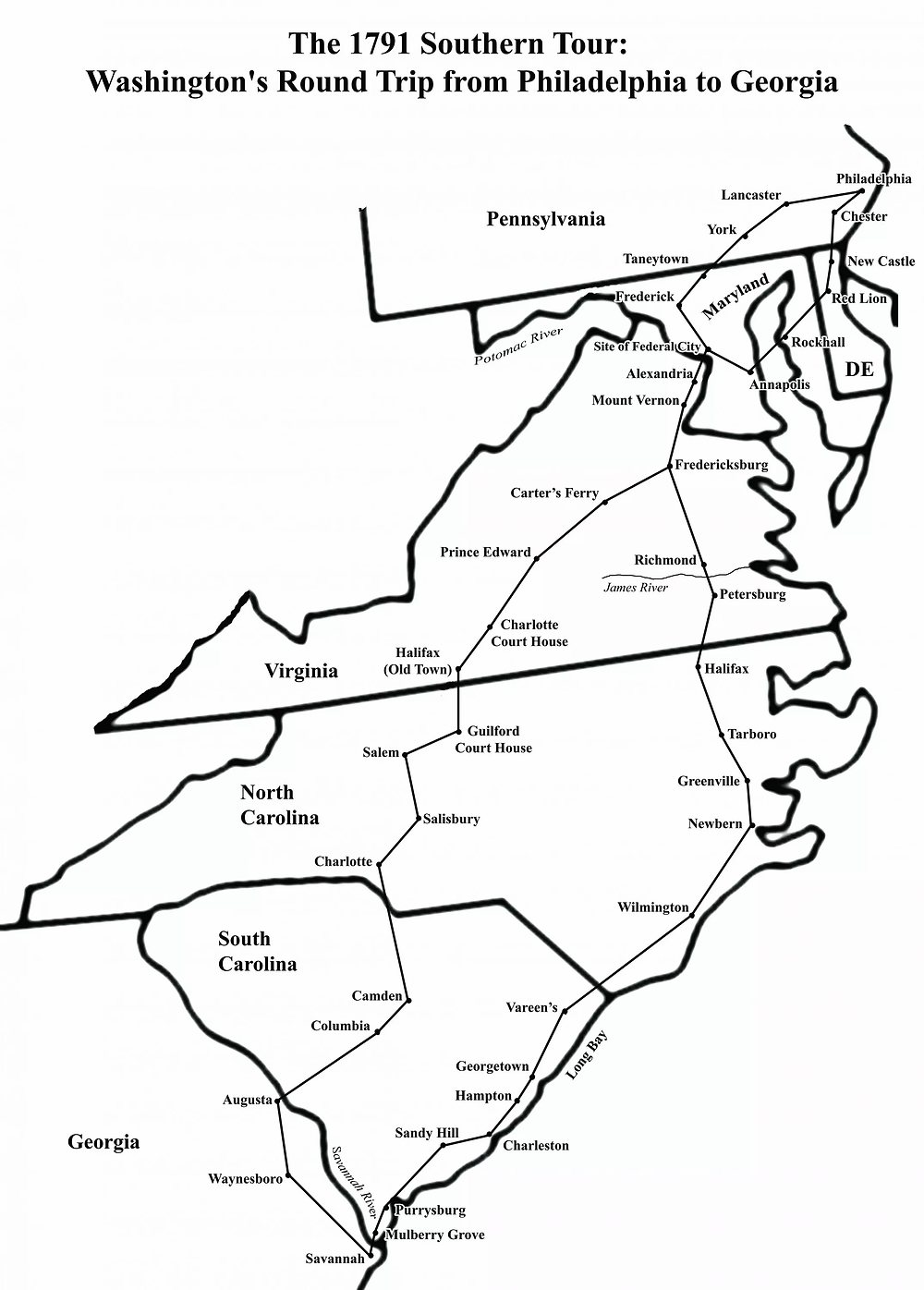 Map of the Route of Washington's Southern Tour