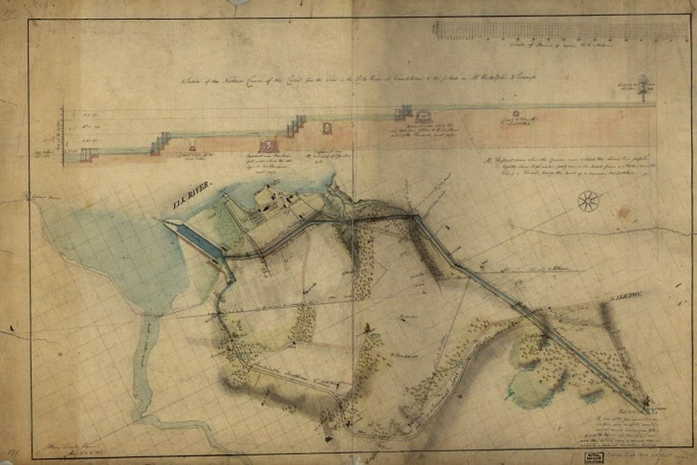 1803 Section of the northern course of the C&D canal from the tide in the Elk River at Frenchtown to the forked oak in Mr. Rudulph's swamp