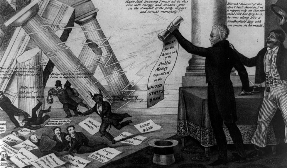 Political Cartoon of Jackson Bringing Down the National Banks