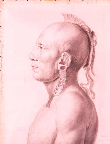 Copperplate of Cachasunghia, Osage Warrior by Saint-Memin, c.1804-06.