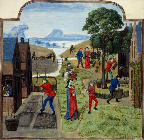 Medieval Town Folk Planting a Kitchen Garden