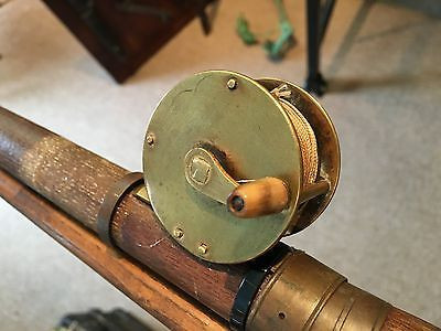 Nottingham Style Reel Mounted on a Wooden Fishing Rod