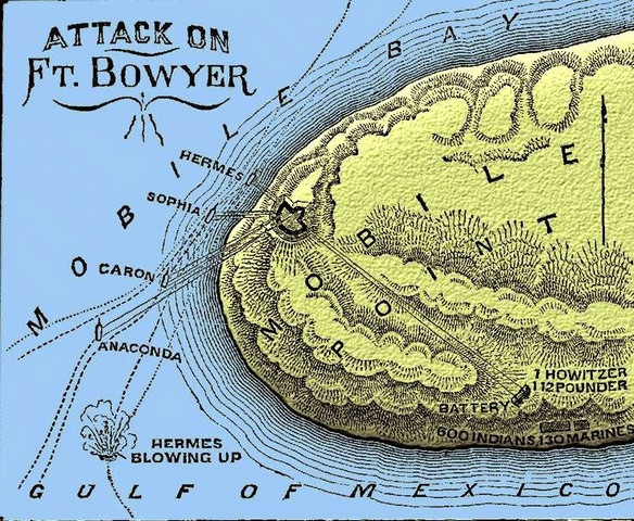 Map of the Attack on Fort Boyer