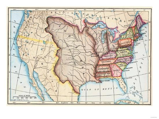 1803 Map showing the Louisiana Territory Boundaries