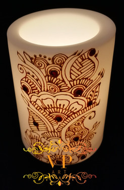 10cm White Pillar LED Candle with Gold Henna Design and Red Rhinestones