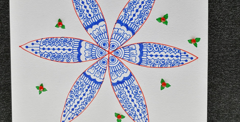 Christmas Card with Blue, Red and Green Henna Design and Red Rhinestones