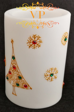 10cm White Pillar LED Candle with Gold Henna Design and Multicolored Rhinestones