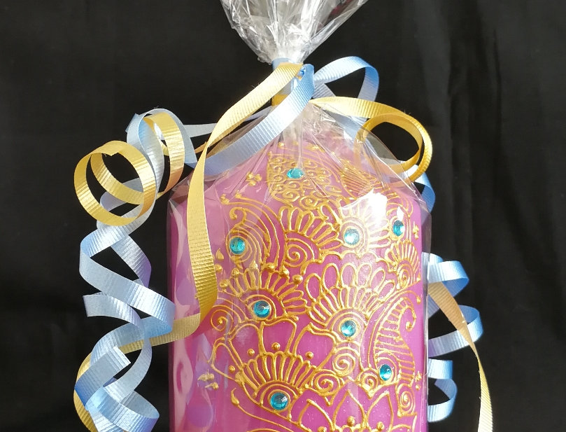 15cm Purple Pillar Candle with Gold Henna Design and Turquoise Rhinestones