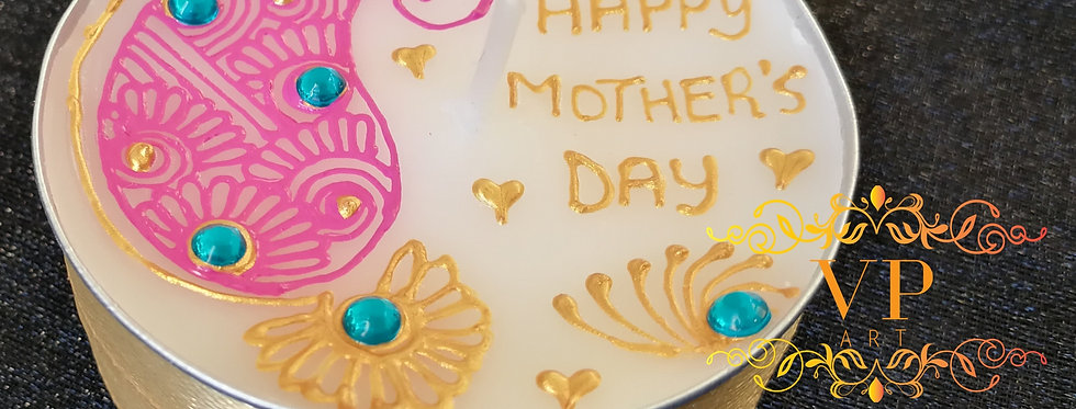 Jumbo Tealight Candle with Pink and Gold Henna Design