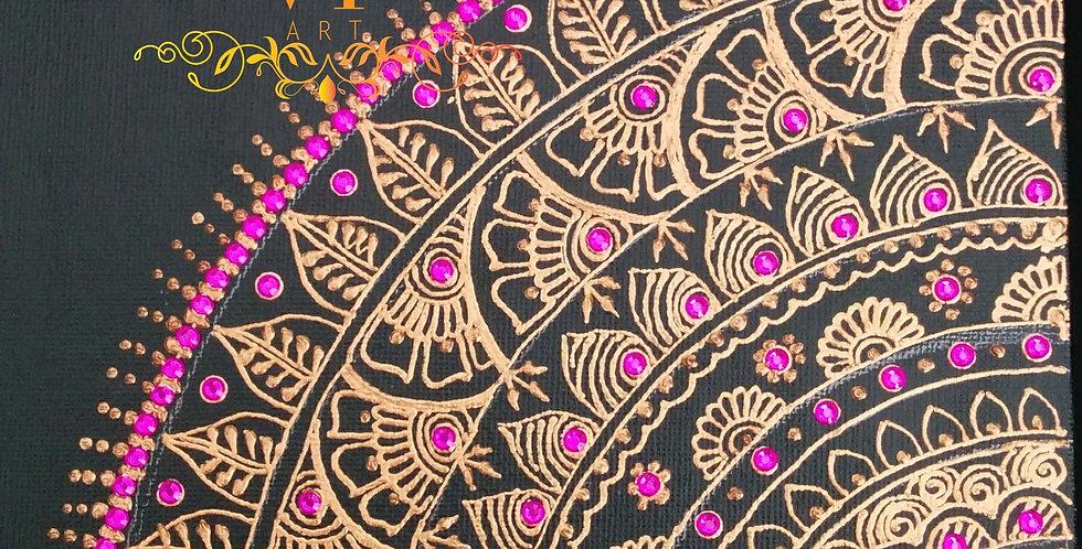 Copper Free Flow Canvas with Purple Rhinestones
