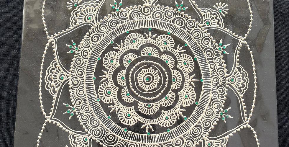 White Free Flow Canvas with Dark Green Rhinestones