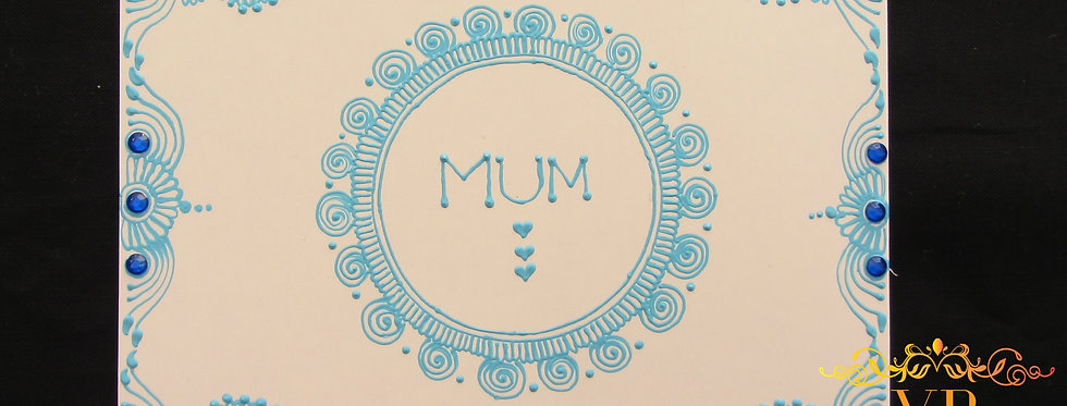 Mother's Day Card with Blue Henna Design and Blue Rhinestones